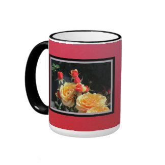 Pink Yellow Roses Ringer Mug