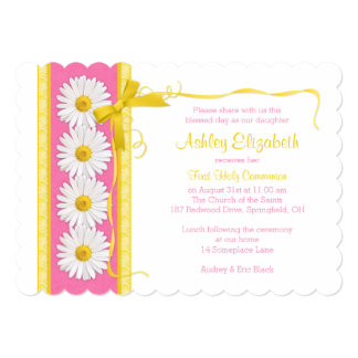 Pink Yellow Shasta Daisy Communion Invitation