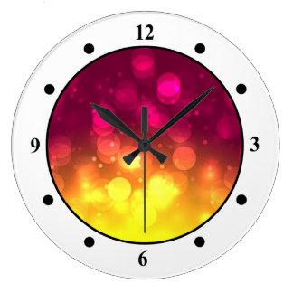 Pink & Yellow Sparkles Light Design Large Clock