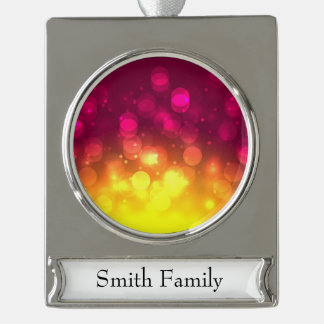 Pink & Yellow Sparkles Light Design Silver Plated Banner Ornament