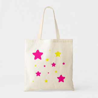 Pink & Yellow Stars Budget Tote Bag