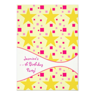 Pink Yellow Stars Girl Any Date Birthday Party Card