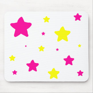 Pink & Yellow Stars Mouse Pad