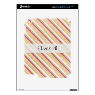 Pink Yellow Stripes Stitched Vellum iPad 3 Decals