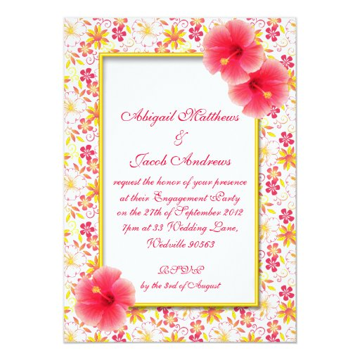 "Pink & Yellow Summer Flowers Engagement Invitation 5"" X 7"" Invitation Card"