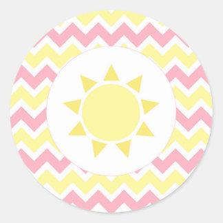 Pink Yellow Sunshine baby shower envelope seal Classic Round Sticker