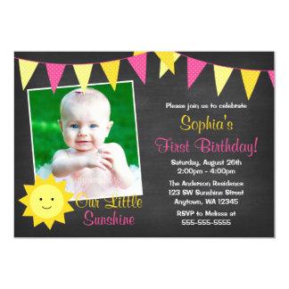 Pink Yellow Sunshine Chalkboard Photo Birthday 5x7 Paper Invitation Card