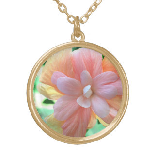 Pink, Yellow & Tangerine Hibiscus Flower Necklace