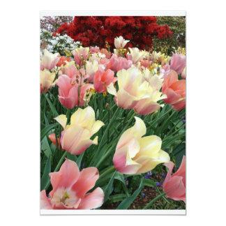 Pink & Yellow Tulips Custom Invitations
