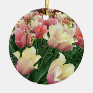 Pink & Yellow Tulips Double-Sided Ceramic Round Christmas Ornament