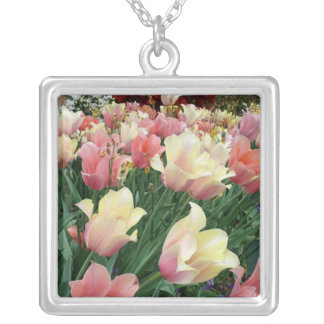 Pink & Yellow Tulips Necklace