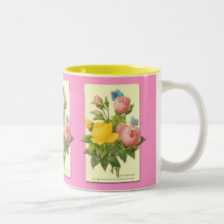 Pink Yellow Vintage Botanical Roses Coffee Cup