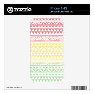 Pink Yellow Watercolor Aztec Tribal Print Pattern iPhone 4S Skin