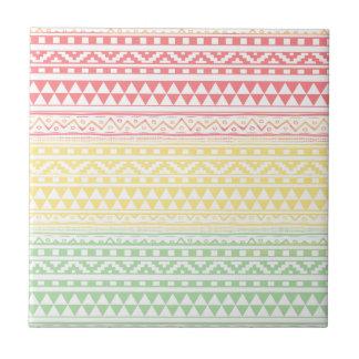 Pink Yellow Watercolor Aztec Tribal Print Pattern Tile