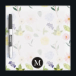 "Pink Yellow Watercolor Floral Monogram Dry-Erase Board<br><div class=""desc"">Pink Yellow Watercolor Floral monogram</div>"
