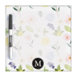 Pink Yellow Watercolor Floral Monogram Dry Erase Boards