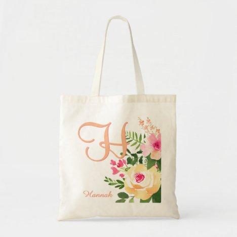Pink Yellow Watercolor Floral Monogram Name Tote Bag