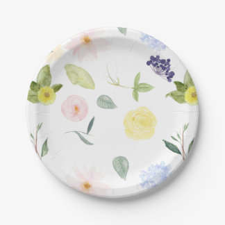 Pink Yellow Watercolor Floral Paper Plate