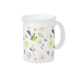 Pink Yellow Watercolor Floral Drink Pitchers