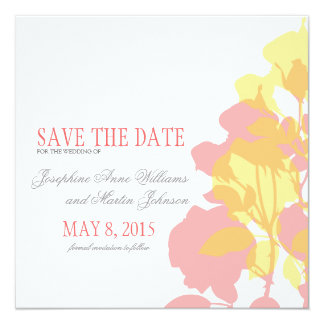 Pink & Yellow Watercolor Floral Save the Date Card