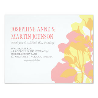 """Pink & Yellow Watercolor Floral Wedding Invite 4.25"""" X 5.5"""" Invitation Card"""