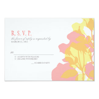Pink & Yellow Watercolor Floral Wedding RSVP Card