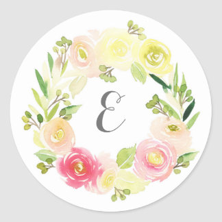 Pink & Yellow Watercolor Floral Wreath | Monogram Classic Round Sticker