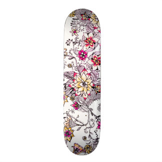 Pink yellow watercolor hand painted floral skateboard