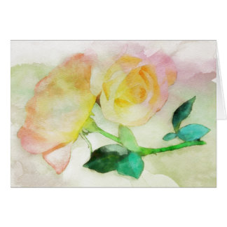 Pink Yellow Watercolor Roses Note Card