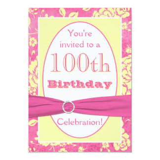 Pink Yellow White Floral 100th Birthday Invitation