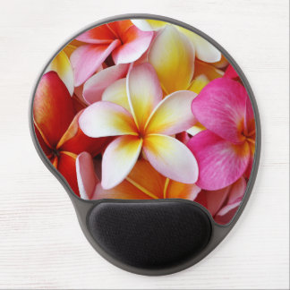 Pink Yellow  White Mixed Plumeria Flower Gel Mouse Pad