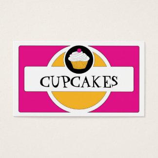 Pink yellow white retro cupcake business cards