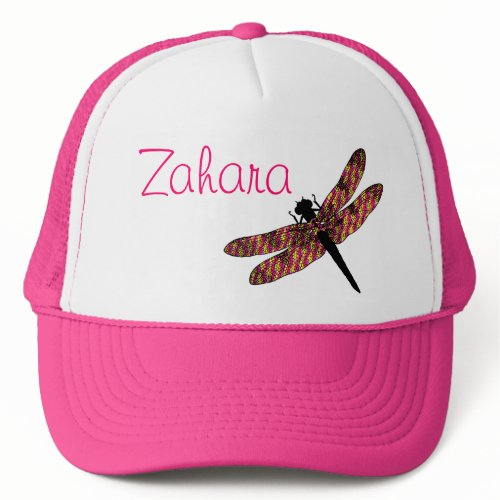 Pink & Yellow Winged Dragonfly hat