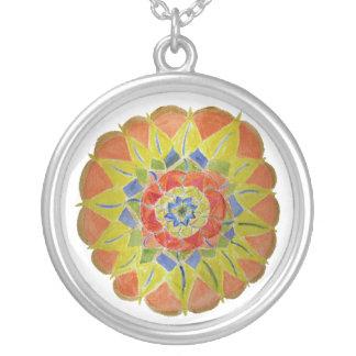 Pink yellwo handpainted mandala Necklace