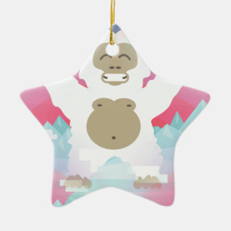 pink yeti ceramic ornament