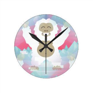 pink yeti round clock