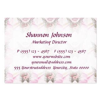 Pink Yin Yang Heart Angel Wings Watercolor Large Business Card