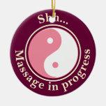 Pink Yin Yang Massage Door Sign Christmas Tree Ornament