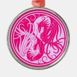 Pink Yin Yang Phoenix Christmas Ornaments