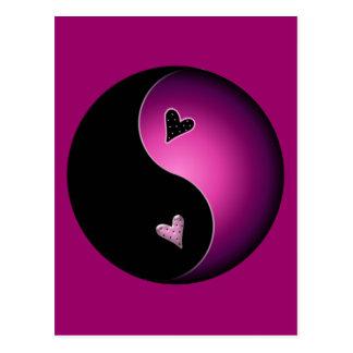 pink yin yang postcard