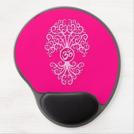 Pink Yoga Om Tree Gel Mousepad