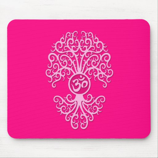 Pink Yoga Om Tree Mouse Pads