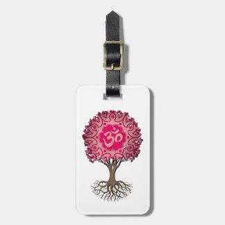 Pink Yoga Om Tree of Life Bag Tag