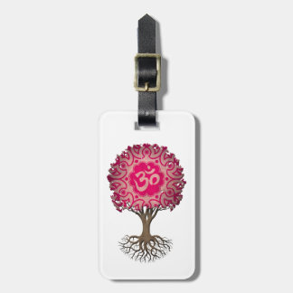 Pink Yoga Om Tree of Life Tags For Luggage
