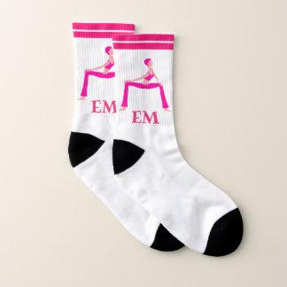 Pink Yoga Pose Silhouette Socks