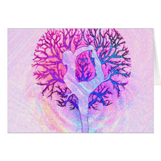 Pink Yoga Tree Woman in Pastel Colors Greeting Card