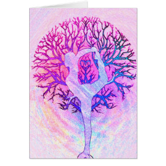 Pink Yoga Tree Woman in Pastel Colors Cards