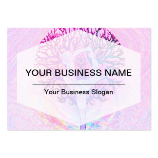 Pink Yoga Tree Woman in Pastel Colors Large Business Card