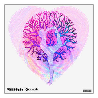 Pink Yoga Tree Woman in Pastel Colors Room Sticker