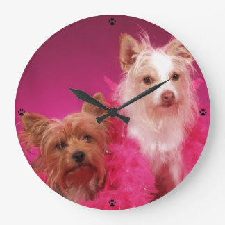 Pink Yorkie and Friends Wall Clock
